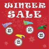Αφίσα, έμβλημα ή ιπτάμενο χειμερινής πώλησης με τους ζωηρόχρωμους χαριτωμένους κόρακες απεικόνιση αποθεμάτων