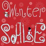 Αφίσα, έμβλημα ή ιπτάμενο χειμερινής πώλησης με το χιονάνθρωπο διανυσματική απεικόνιση