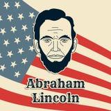 Αφίσα, έμβλημα ή κάρτα Προέδρου Abraham Lincoln διανυσματική Γραπτό πορτρέτο εγγράφου περικοπών στο υπόβαθρο αμερικανικών σημαιών Στοκ φωτογραφία με δικαίωμα ελεύθερης χρήσης