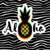 Αφίσα ή τυπωμένη ύλη με τη γεωμετρική εγγραφή χεριών ανανά και Aloha ελεύθερη απεικόνιση δικαιώματος