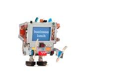 Αφίσα ανακοίνωσης επιλογών εστιατορίων επιχειρησιακού μεσημεριανού γεύματος Μπλε ρομπότ οργάνων ελέγχου οθόνης με τη διαφήμιση το Στοκ Εικόνες