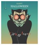 Αφίσα αποκριών με το βαμπίρ Dracula στο αναδρομικό ύφος διανυσματική απεικόνιση