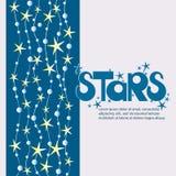 Αφίσα αστεριών και τα ΑΣΤΕΡΙΑ επιγραφής Στοκ φωτογραφία με δικαίωμα ελεύθερης χρήσης