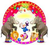 Αφίσα για μια απόδοση τσίρκων Θέαμα με τον εύθυμο κλόουν και τα εκπαιδευμένα ζώα διανυσματική απεικόνιση