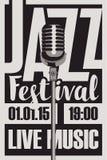 Αφίσα για μια ζωντανή μουσική φεστιβάλ τζαζ με mic Στοκ Εικόνες