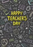 Αφίσα για την εθνική ημέρα δασκάλων ` s με το συμπαθητικό σχέδιο doddle Κάθετη διανυσματική απεικόνιση σε έναν πίνακα Στοκ εικόνες με δικαίωμα ελεύθερης χρήσης