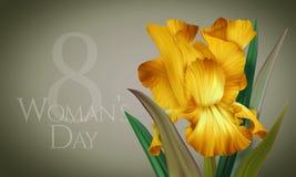 Αφίσα για την ημέρα της γυναίκας με την αρχική καλλιτεχνική ζωηρόχρωμη κίτρινη ίριδα φαντασίας Στοκ Εικόνα