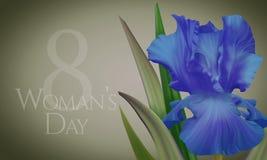 Αφίσα για την ημέρα της γυναίκας με την αρχική καλλιτεχνική ζωηρόχρωμη μπλε ίριδα φαντασίας Στοκ Εικόνες