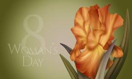 Αφίσα για την ημέρα της γυναίκας με την αρχική καλλιτεχνική ζωηρόχρωμη πορτοκαλιά ίριδα φαντασίας Στοκ Εικόνες