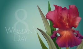 Αφίσα για την ημέρα της γυναίκας με την αρχική καλλιτεχνική ζωηρόχρωμη κόκκινη ίριδα φαντασίας Στοκ Εικόνες