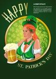 Αφίσα για την ημέρα του ST Patricks Χαριτωμένο ιρλανδικό κορίτσι με ένα γυαλί μπύρας Στοκ εικόνα με δικαίωμα ελεύθερης χρήσης