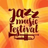Αφίσα για τη ζωντανή μουσική φεστιβάλ τζαζ με τη σάλπιγγα Στοκ Φωτογραφίες