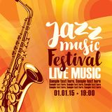 Αφίσα για τη ζωντανή μουσική φεστιβάλ τζαζ με το saxophone Στοκ Φωτογραφία