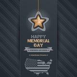 Αφίσα για τη ημέρα μνήμης με το χάρτη των ΗΠΑ Στοκ Εικόνες