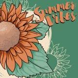 Αφίσα για το καλοκαίρι vibes με τον ηλίανθο στο ύφος σκίτσων Στοκ Εικόνες