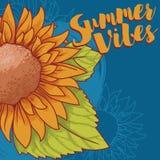 Αφίσα για το καλοκαίρι vibes με τον ηλίανθο στο ύφος σκίτσων Στοκ φωτογραφία με δικαίωμα ελεύθερης χρήσης
