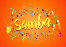Αφίσα για το χορό Samba της Βραζιλίας σε καρναβάλι στο Ρίο Κομφετί γύρω από την επιγραφή διανυσματική απεικόνιση