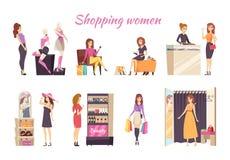 Αφίσα γυναικών αγορών με τις κυρίες στο διάνυσμα καταστημάτων απεικόνιση αποθεμάτων