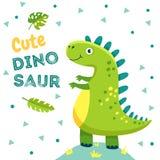 Αφίσα δεινοσαύρων Οι χαριτωμένοι μωρών του Dino αστείοι δεινόσαυροι δράκων ζώων τεράτων ιουρασικοί διαμορφώνουν το διάνυσμα σχεδί απεικόνιση αποθεμάτων