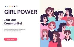 Αφίσα δύναμης κοριτσιών Θέμα φεμινισμού διανυσματική απεικόνιση