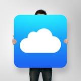 Αφίσα εκμετάλλευσης ατόμων με το εικονίδιο σύννεφων Στοκ εικόνες με δικαίωμα ελεύθερης χρήσης