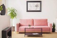 Αφίσα επάνω από το ρόδινο καναπέ μεταξύ των εγκαταστάσεων στο εσωτερικό καθιστικών με τον πίνακα και της εστίας Πραγματική φωτογρ στοκ εικόνες με δικαίωμα ελεύθερης χρήσης
