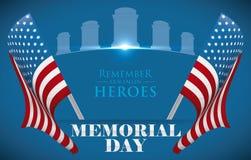 Αφίσα ημέρας μνήμης για να τιμήσει τους πεσμένους ήρωες με το U S Α Σημαίες, διανυσματική απεικόνιση Στοκ φωτογραφία με δικαίωμα ελεύθερης χρήσης