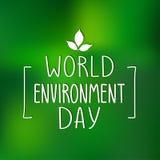 Αφίσα ημέρας παγκόσμιου περιβάλλοντος Διανυσματική απεικόνιση με τη χειρόγραφη πηγή Στοκ φωτογραφία με δικαίωμα ελεύθερης χρήσης