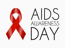 Αφίσα ημέρας συνειδητοποίησης του AIDS Κόκκινη ρεαλιστική κορδέλλα Στοκ Εικόνες