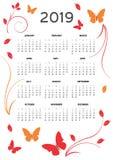2019 αφίσα ημερολογιακών καρτών κομψή και χαριτωμένη διανυσματική απεικόνιση