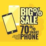 Αφίσα η περισσότερη πώληση smartphones με ένα σημάδι τοις εκατό Διανυσματική απεικόνιση σε ένα επίπεδο ύφος διανυσματική απεικόνιση