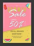 Αφίσα θερινής πώλησης, έμβλημα ή σχέδιο ιπτάμενων Στοκ Φωτογραφία