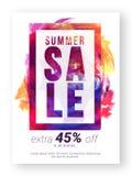 Αφίσα θερινής πώλησης, έμβλημα ή σχέδιο ιπτάμενων Στοκ Φωτογραφίες