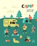 Αφίσα θερινής στρατοπέδευσης, έμβλημα Άνθρωποι χαρακτηρών κινουμένων σχεδίων στην αφίσσα στρατόπεδων, πρόσκληση, υπόβαθρο Εξοπλισ ελεύθερη απεικόνιση δικαιώματος