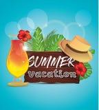 Αφίσα θερινών διακοπών με τα φύλλα φοινικών, τροπικό λουλούδι, απεικόνιση αποθεμάτων