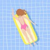 Αφίσα θερινών παραλιών με το κορίτσι Στοκ Εικόνα