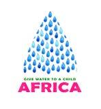 Αφίσα καθαρού νερού φιλανθρωπίας Κοινωνική απεικόνιση για τα προβλήματα Αφρική Δόσιμο των δωρεών για τα αφρικανικούς παιδιά και τ Στοκ φωτογραφία με δικαίωμα ελεύθερης χρήσης
