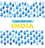 Αφίσα καθαρού νερού φιλανθρωπίας Κοινωνική απεικόνιση για τα προβλήματα Ινδία Δόσιμο των δωρεών για τα ινδικούς παιδιά και τους λ Στοκ Εικόνες
