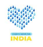 Αφίσα καθαρού νερού φιλανθρωπίας Κοινωνική απεικόνιση για τα προβλήματα Ινδία Δόσιμο των δωρεών για τα ινδικούς παιδιά και τους λ Στοκ Φωτογραφία