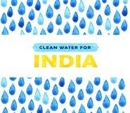 Αφίσα καθαρού νερού φιλανθρωπίας Κοινωνική απεικόνιση για τα προβλήματα Ινδία Δόσιμο των δωρεών για τα ινδικούς παιδιά και τους λ Στοκ φωτογραφία με δικαίωμα ελεύθερης χρήσης