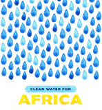 Αφίσα καθαρού νερού φιλανθρωπίας Κοινωνική απεικόνιση για τα προβλήματα Αφρική Δόσιμο των δωρεών για τα αφρικανικούς παιδιά και τ Στοκ Φωτογραφίες