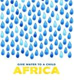 Αφίσα καθαρού νερού φιλανθρωπίας Κοινωνική απεικόνιση για τα προβλήματα Αφρική Δόσιμο των δωρεών για τα αφρικανικούς παιδιά και τ Στοκ εικόνα με δικαίωμα ελεύθερης χρήσης