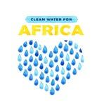 Αφίσα καθαρού νερού φιλανθρωπίας Κοινωνική απεικόνιση για τα προβλήματα Αφρική Δόσιμο των δωρεών για τα αφρικανικούς παιδιά και τ Στοκ εικόνες με δικαίωμα ελεύθερης χρήσης