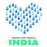 Αφίσα καθαρού νερού φιλανθρωπίας Κοινωνική απεικόνιση για τα προβλήματα Ινδία Δόσιμο των δωρεών για τα ινδικούς παιδιά και τους λ Στοκ Φωτογραφίες
