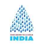 Αφίσα καθαρού νερού φιλανθρωπίας Κοινωνική απεικόνιση για τα προβλήματα Ινδία Δόσιμο των δωρεών για τα ινδικούς παιδιά και τους λ Στοκ Εικόνα