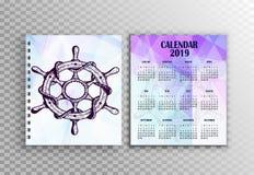 Αφίσα και ημερολόγιο 2019 - διανυσματικό σχεδιάγραμμα σχεδίου απεικόνιση αποθεμάτων