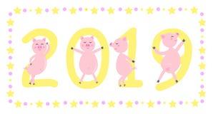 Αφίσα καλής χρονιάς 2019 με τα χαριτωμένα χοιρίδια χορού επίσης corel σύρετε το διάνυσμα απεικόνισης απεικόνιση αποθεμάτων