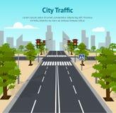 Αφίσα καρτών φωτεινών σηματοδοτών σταυροδρομιών πόλεων κινούμενων σχεδίων διάνυσμα διανυσματική απεικόνιση