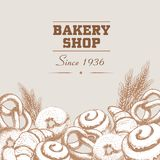 Αφίσα καταστημάτων αρτοποιείων και πρότυπο εμβλημάτων Συρμένα χέρι αγαθά αρτοποιείων Bagels, κουλούρια, croissants, pretzel και σ διανυσματική απεικόνιση