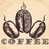 Αφίσα καφέ με συρμένα τα χέρι αραβικά σιτάρια καφέ και το αφρικανικό ο Στοκ φωτογραφία με δικαίωμα ελεύθερης χρήσης
